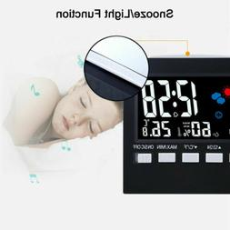 LED Digital Alarm Clock Loud Snooze Calendar Weather Color D