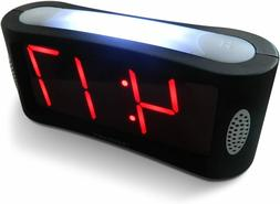 Digital Alarm Clock LED Display Electric Power Battery Back