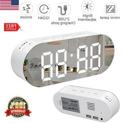 LED Digital Alarm Clock USB Desk Bedside Mirror Screen Numbe