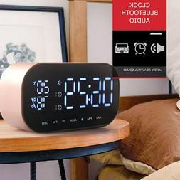 LED Digital Dual Mirror Alarm Clock with Bluetooth Speaker F