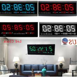 LED Digital Large Jumbo Wall Clock with Calendar Temperature