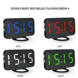 LED Digital Mirror Alarm Clock Night Lights Wall Clock with