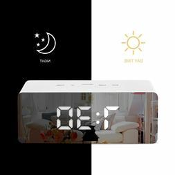 LED Digital Mirror Alarm Clock USB Night Lights Wall Clock W