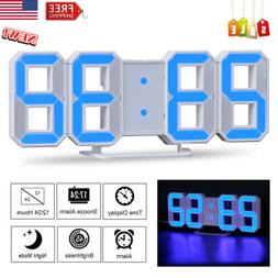 LED Digital Numbers Wall Clock Large 24/12H 3 Brightness Ala