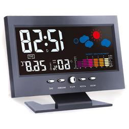 Led Digital Projection Alarm Clock Loud Snooze Calendar Weat