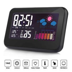 LED Digital Projection Alarm Clock Radio Weather Thermometer