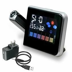 LED Digital Projection Alarm Clock Weather Thermometer Snooz
