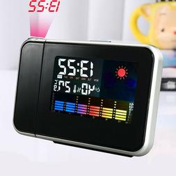 LED Digital Projection Alarm Time Clock Snooze Weather Therm