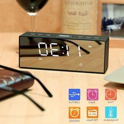 LED Digital Snooze Alarm Clock FM Temperature Display USB/Ba