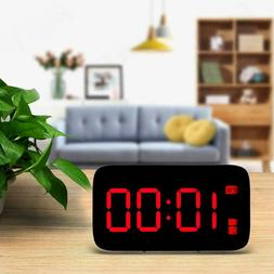 LED Digital Snooze Electronic USB Time Alarm Clock Night Lig