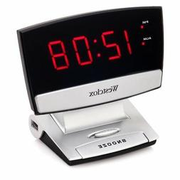 Westclox LED Display Alarm Clock with USB Charging Port, Bla