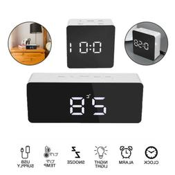 Digital Clock Mirror LED Display Alarm Modern Numbers Clock