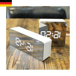 LED Display Digital Alarm Clock Modern Mirror Clock USB for