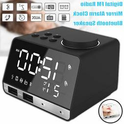 LED Display Dual Wireless Alarm Mirror Clock bluetooth Bass