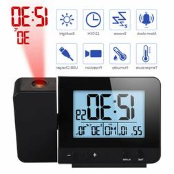 LED Display Projector Clock with Backlight Snooze Alarm Cloc