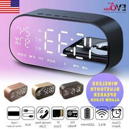 LED Mirror Digital Alarm Clock Portable Wireless Bluetooth S