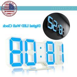 LED USB Digital 3D Wall Clock Home Snooze 12/24H Memory Nigh