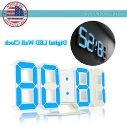 LED USB Digital 3D Wall Clock Home Snooze 12/24H Memory Nigh