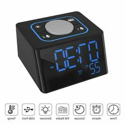 LED Wireless Bluetooth Speaker Alarm Clock FM Radio with Dua