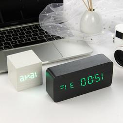LED Wooden Alarm <font><b>Clock</b></font> Watch Table Voice