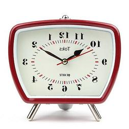 Lilys Home Vintage/Retro Inspired Analog Alarm Clock Red 5.5