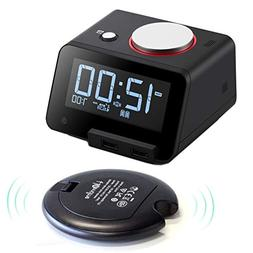 Homtime Loud Alarm Clock with Wireless Powerful Bed Shaker f