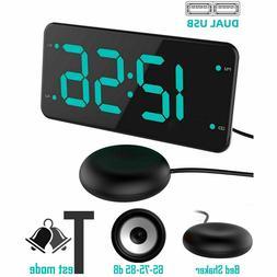 Loud Digital Alarm Clock w/ Super Bed Shaker Vibrating for H