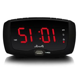 Loud Ringing Alarm Clock Radio For Bedrooms Digital With USB