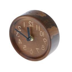 MagiDeal Wood Table Alarm Clock Small Silent Desk Portable C