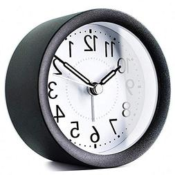 TXL 4 inch Round Metal Analog Alarm Clock Kids' Room Silent