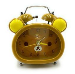 Mini Alarm Clock Cute Bear Face Portable Twin Bell Night Lig