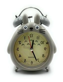 Mini Alarm Clock Cute Totoro Portable Twin Bell Night Light