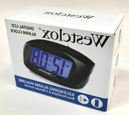 Westclox Mini Digital Alarm Clock Large LCD Display Blue Bac