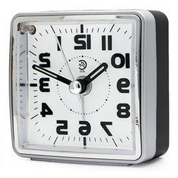 JCC Mini Travel Analog Alarm Clock, Non-Ticking-Battery Oper