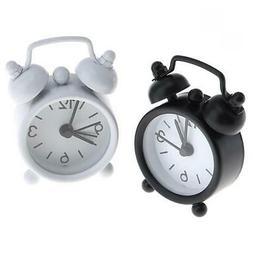 Mini Analog Alarm Clock Vintage Retro Bedroom Bedside Batter