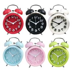Mini Round Alarm Clock Desktop Table Bedside Kids Adult Home
