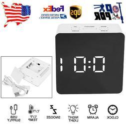 Mirror LED Digital Alarm Clock Modern Numbers Snooze Clock D