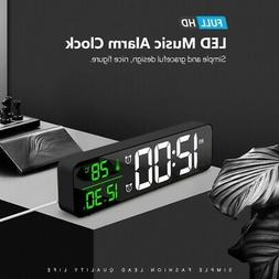 Modern Alarm Clock Desktop Large Digital LED Display Tempera