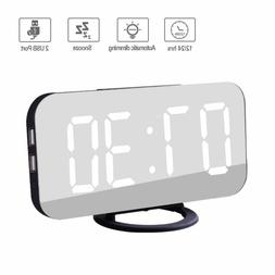 Modern Alarm Clock with USB Charger Port, Digital Mirror Clo