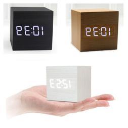 Modern Cube Wooden Wood Digital LED Desk Voice Control Alarm