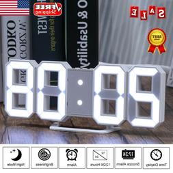 Modern Digital 3D LED Number Wall Clock Alarm Snooze Watch 2