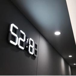Modern Digital 3D White LED Wall Clock Alarm Clock in White