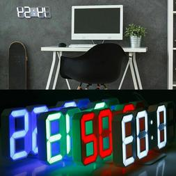 Modern Digital 3D LED Wall Clock Large Alarm Clock Snooze 12
