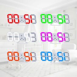 Modern Digital 3D LED Wall Clock USB Large Alarm Clock Snooz