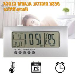 Modern Digital Alarm Clock LCD Display Calendar Snooze Therm