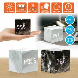 Modern Marble USB/AAA Digital LED Alarm Clock Wooden Wood Ca