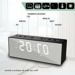 Modern Mirror USB Digital LED Alarm Clock Snooze Calendar Th