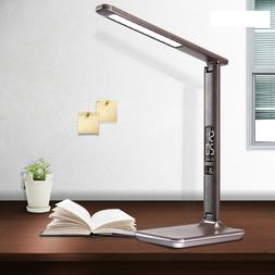 Modern Office Leather LED Desk Lamp Touch USB Charging with