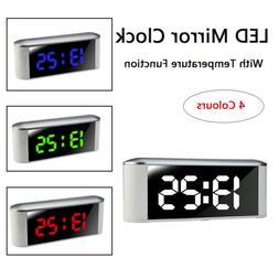 Modern Touch Function Button Desk LED Mirror Clock With Temp