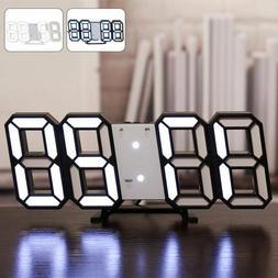 Modern USB Digital 3D LED Wall Clock Alarm Snooze 12/24 Hour
